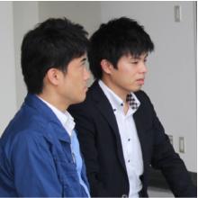 弊社営業担当 細川(右)、システムエンジニア 谷原(左)