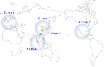 電子部品のデリバリーが行われている、各国の現在の拠点